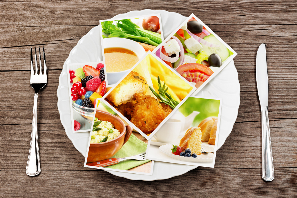 Photos of different food are on a plate.